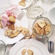 Stock Photo: Cookies in the Shape of Heart on a White Wooden Table