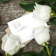 White Roses with Isolated Letter at the Table — Stock Photo