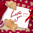 Stock Photo: Valentine Card with Letter Isolated on White Your Own Text