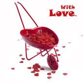 Red Cart with Hearts Isolated on White — Stock Photo
