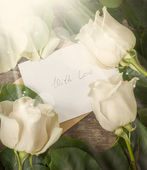 Card with Love Letter and White Roses on the Wooden Table — Stock Photo