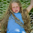Girl with the Long Fair Hair on the Hammock — Stock Photo