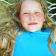 Portrait of Smiling Girl with a Lon Fair Curly Hair — Foto de Stock