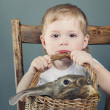 Portrait of the Cute Boy with Bunny — Stock Photo