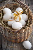 Easter Eggs in the Wattled Basket — Stock Photo
