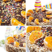 Collage with Party Cake Decorated Segments of Oranges and chocol — Stock Photo