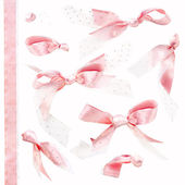 Pink Bows with Paillettes isolated on a white background — Stock Photo
