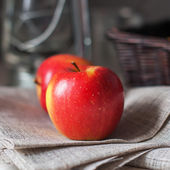 Still life with Two Red Apples, square image — Stock Photo