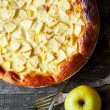 Open Apple Pie with eggs, square image — Stock Photo