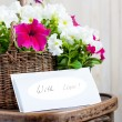 White and Pink Petuniflowers in basket with massage — Stock Photo #27652495
