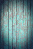 Old Wooden Planks with cracked blue paint, vignette — Stock Photo