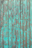 Old Wooden Planks with cracked emerald paint, texture — Stock Photo