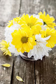 White and Yellow Flowers Chrysanthemums in a bouquet — Stock Photo