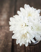 Bouquet of White chrysanthemums on Wooden Background — Stock Photo