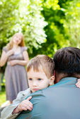 Portrait Little Boy with his family — Stock Photo