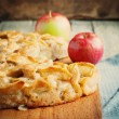 Apple pie, square composition and toned image — Stock Photo