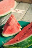 Pieces of Water-melon decorated with word Diet — Stock Photo