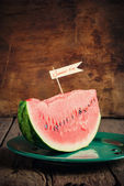 Summer composition with piece of a water-melon on plate — Stock Photo
