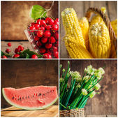 Collage of fresh vegetables, berries and fruits — Stock Photo
