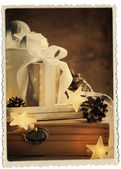 Vintage Christmas Card with Gifts — Stock Photo