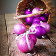 Brilliant Christmas Balls from basket — Stock Photo