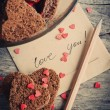 Card with Message Love You and Chocolate Cookies — Stock Photo #32498275