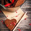 Card with Message Love You and Chocolate Cookies — Stock Photo