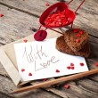 Valentine's Card with Cart and Message — Stock Photo