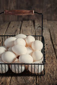 Eggs in the Metal Basket — Stock Photo