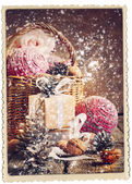 Vintage Christmas Card with Gifts and falling snow — Stock Photo