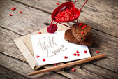 Valentine's Card with Cart and Message — Fotografia Stock