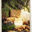 Vintage Christmas Card with Gifts, old frame — Stock Photo #35174737