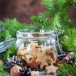 Ginger Cookies Stars in the glass jar — Stock Photo