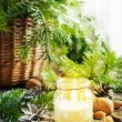 Christmas Candles, Gifts and Nuts on Wooden Table — Stock Photo