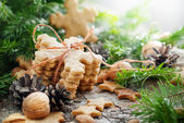 Ginger Cookies Snowflakes in Christmas Composition — Stock Photo