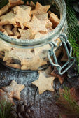 Ginger Christmas Cookies Stars in the jar — Stock Photo