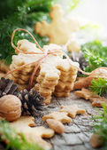 Ginger Cookies in shape of Snowflakes on Table — Stock Photo