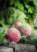 Christmas Card with Pink Balls befor fir — Stock Photo