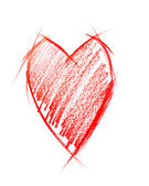 Red Heart isolated on white, sketching — Stock Photo