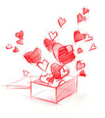 Sketch Drawing Box with Hearts, isolated on white — Stock Photo