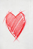 Sketch Drawing of the Red Heart on grey cardboard — Stock Photo