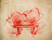 Two Red Hearts sitting, sketch drawing — Stock Photo