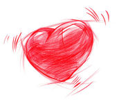 Red Heart sketch drawing, isolated on white — Stock Photo