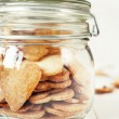 Jar with Hearts Cookies, close up — Stock Photo