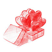 Red Box with Hearts, Sketch Drawing, illustration — Foto de Stock