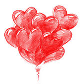Red Balloons in the shape of Hearts — Stockfoto