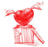 Box with Flying Heart, Sketch Drawing — Stok fotoğraf
