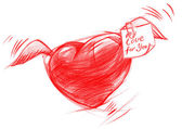 Flying Heart with Message, Sketch Drawing — ストック写真