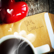 Stock Photo: Morning Tea and Message With Love