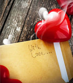 Letter with Smell of Love and Red Heart — Stock Photo